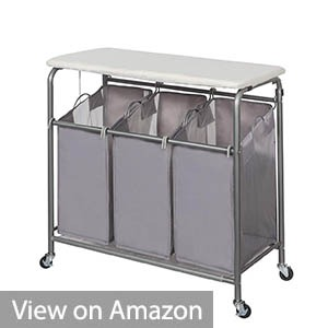 StorageManiac 3 Lift-off Foldable Laundry Sorter with Ironing Board