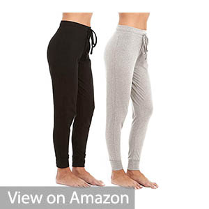 Unique Styles Fold-over Waistband Stretchy Cotton-blend Yoga Pants