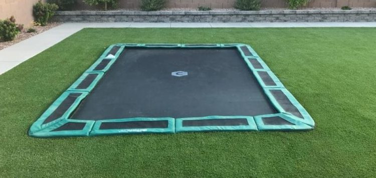 rectangle trampoline in ground