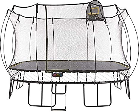 Springfree Jumbo Square Trampoline with Basketball Hoop & Ladder