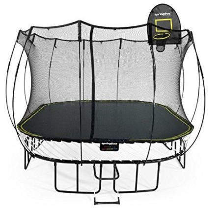 Springfree Trampoline Large Square with Basketball Hoop & Ladder, 11'